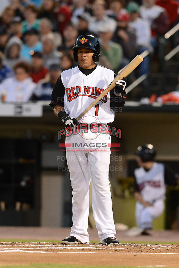 Rochester Red Wings third baseman Ray Olmedo (1) during an International League playoff game against the Pawtucket Red Sox on September 5, 2013 at Frontier Field in Rochester, New York.  Pawtucket defeated Rochester 7-2.  (Mike Janes/Four Seam Images)