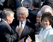 Washington, DC - April 15, 2008 -- United States Senators Johnny Isaakson (Republican of Georgia); Joseph Lieberman (Independent Democrat of Connecticut); and Susan Collins (Republican of Maine) await the arrival of Pope Benedict XVI at the White House in Washington, D.C. on Wednesday, April 16, 2008.  .Credit: Ron Sachs / CNP.(RESTRICTION: NO New York or New Jersey Newspapers or newspapers within a 75 mile radius of New York City)