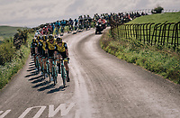 Team LottoNL-Jumbo controlling the bunch<br /> <br /> Racing in/around Lake District National Parc / Cumbria<br /> <br /> Stage 6: Barrow-in-Furness to Whinlatter Pass   (168km)<br /> 15th Ovo Energy Tour of Britain 2018