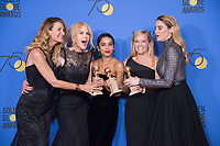 For Best Television Limited Series or Motion Picture Made for Television, the Golden Globe is awarded to &quot;Big Little Lies&quot; (HBO). Laura Dern, Nicole Kidman, Zoe Kravitz, Reese Witherspoon, and Shailene Woodley pose with the award backstage in the press room at the 75th Annual Golden Globe Awards at the Beverly Hilton in Beverly Hills, CA on Sunday, January 7, 2018.<br /> *Editorial Use Only*<br /> CAP/PLF/HFPA<br /> &copy;HFPA/PLF/Capital Pictures