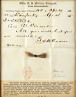 Lock of Abraham Lincoln's hair, removed during his post-mortem, emerges for sale for £55,000.