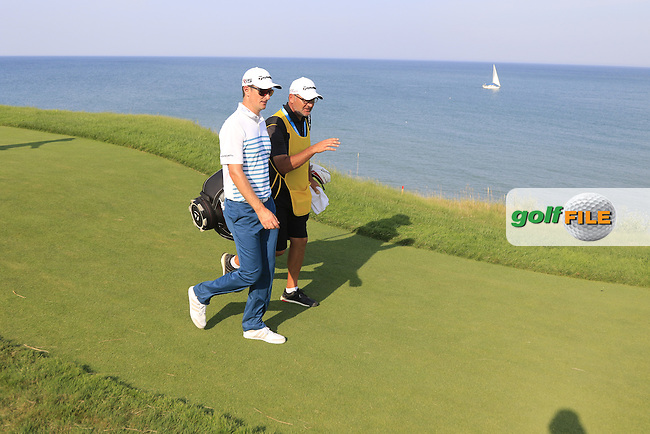 Justin Rose (ENG) walks off the 16th tee during Sunday's Final Round of the 97th US PGA Championship 2015 held at Whistling Straits, Mosel, Kohler, Wisconsin, United States of America. 16/08/2015.<br /> Picture Eoin Clarke, www.golffile.ie