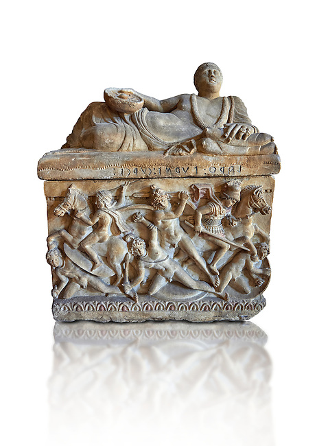 Etruscan Hellenistic style cinerary, funreary, urn ,  National Archaeological Museum Florence, Italy, white background