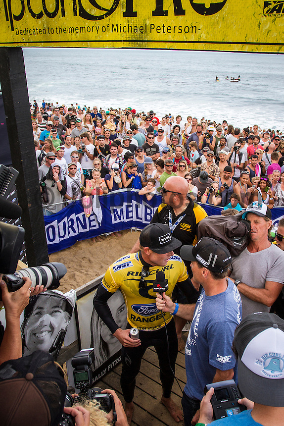 BELLS BEACH, Victoria/Australia (Friday, April 6, 2012) &ndash; The Rip Curl Pro Bells Beach - Dedicated to the memory of former three times winner Michael Peterson (AUS) wrapped up today with clean four-to-six foot (1.5 &ndash; 2 metre) waves steaming through Rincon and the Bells Bowl.<br /> Mick Fanning (AUS) defeated 11 times world champion Kelly Slater (USA) in the final to claim his second Bells Bell. Joel Parkinson (AUS) and Jeremy Flores (FRA) were + 3rd.<br />  <br /> The second stop on the 2012 ASP World Championship Tour, the Rip Curl Pro Bells Beach will took advantage of today&rsquo;s conditions,  crowning a men&rsquo;s champ by day&rsquo;s end.<br />  Photo: joliphotos.com