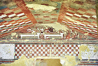 Underground Etruscan tomb  A single chamber with double sloping ceiling decorated with a painted chequered design, Etruscan Necropolis of Monterozzi, Monte del Calvario, Tarquinia, Italy. A UNESCO World Heritage Site.