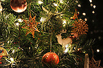 Tree Ornaments on a Christmas Tree in the Rural Village of Marlow, New Hampshire