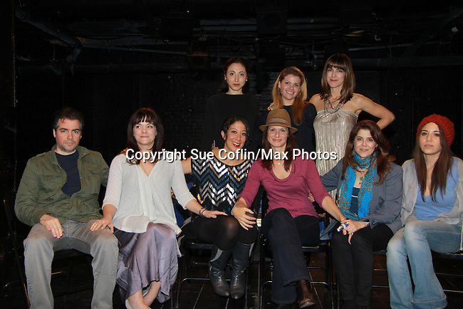 "Starring in the play are Kevin Corrigan, Ana Reader, Sarah Nina Hayon, Shira-Lee Shaulit, Audrey Exparza - Back right Paula Pizzi. One Life To Live Florencia Lozano wrote the play ""Busted"" which was performed on November 5, 2011 at the Bank Street Theater, New York City, New York.  (Photo by Sue Coflin/Max Photos)"