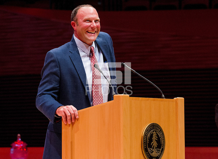 STANFORD, CA - OCTOBER 16, 2015—Kyle Peterson, a inductee gives a speech at the 2015 Stanford Athletics Hall of Fame Induction Ceremony at the Bing Concert Hall .