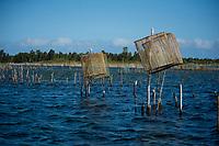 Africa, Madagascar, Canal des Pangalanes.  Aye Aye Island. Fishing nets and traps.