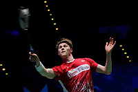 14th March 2020, Arena Birmingham, Birmingham, UK; Denmarks Anders Antonsen competes during the mens singles semifinal match with Chinese Taipei s Chou Tien Chen at All England Badminton 2020 in Birmingham, Britain on March 14, 2020. Chou Tien Chen passed through to the final after Anders Antonsen retired injured during the first game.
