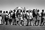 Dourados, Guarani reserve. Guaranies people wait in line the distribution of foodstuffs.