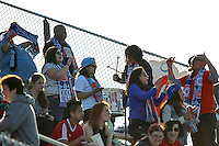 Piscataway, NJ, April 24, 2016.  Members of Sky Blue's supporters' group, Cloud Nine, watch pre-game warmups.  The Washington Spirit defeated Sky Blue FC 2-1 during a National Women's Soccer League (NWSL) match at Yurcak Field.