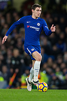 Chelsea's Andreas Christensen in action <br /> <br /> Photographer Craig Mercer/CameraSport<br /> <br /> The Premier League - Chelsea v West Bromwich Albion - Monday 12th February 2018 - Stamford Bridge - London<br /> <br /> World Copyright &copy; 2018 CameraSport. All rights reserved. 43 Linden Ave. Countesthorpe. Leicester. England. LE8 5PG - Tel: +44 (0) 116 277 4147 - admin@camerasport.com - www.camerasport.com