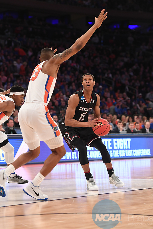 NEW YORK, NY - MARCH 26:  PJ Dozier #15 of the South Carolina Gamecocks during a game against the Florida Gators during the 2017 NCAA Men's Basketball Tournament held at Madison Square Garden on March 26, 2017 in New York City. (Photo by Justin Tafoya/NCAA Photos via Getty Images)