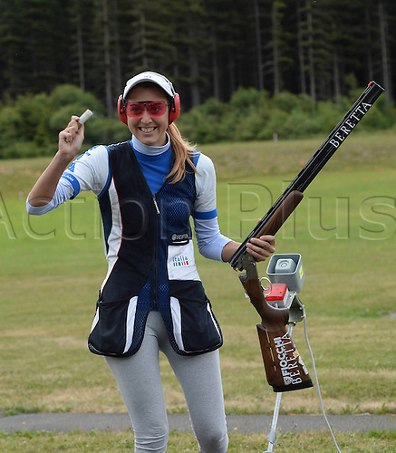 31.07.2013. Suhl, Germany.  European Championship ongoing trap shooting  Jessica Rossi ITA