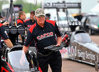 Apr 26, 2015; Baytown, TX, USA; Richard Hogan , crew chief for NHRA top fuel driver Steve Torrence during the Spring Nationals at Royal Purple Raceway. Mandatory Credit: Mark J. Rebilas-