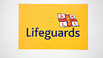 Close up of Lifeguards RNLI sign at Cromer, north Norfolk coast, England