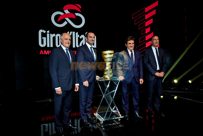 Route presentation for the 103rd edition of the Giro d'Italia 2020. L-R Renato Di Rocco, Vincenzo Spadafora, Urbano Cairo, Giuseppe Sala. Held in the RAI Studios, Milan, Italy. <br /> 24th October 2019.<br /> Picture: LaPresse/Claudio Furlan | Cyclefile<br /> <br /> All photos usage must carry mandatory copyright credit (© Cyclefile | LaPresse/Claudio Furlan)