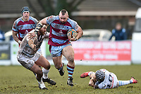 Toby Williams of Rotherham Titans takes on the Bedford defence. Greene King IPA Championship match, between Rotherham Titans and Bedford Blues on January 17, 2018 at Clifton Lane in Rotherham, England. Photo by: Patrick Khachfe / Onside Images