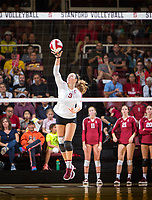 STANFORD, CA - September 9, 2018: Morgan Hentz at Maples Pavilion. The Stanford Cardinal defeated #1 ranked Minnesota 3-1 in the Big Ten / PAC-12 Challenge.