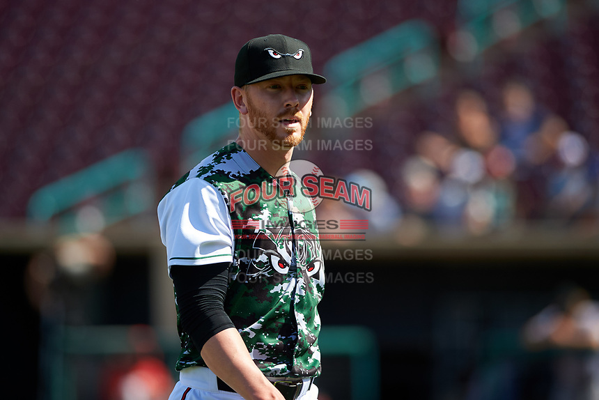 Lake Elsinore Storm relief pitcher Steven Wilson (24) walks off the mound between innings of a California League game against the Inland Empire 66ers on April 14, 2019 at The Diamond in Lake Elsinore, California. Lake Elsinore defeated Inland Empire 5-3. (Zachary Lucy/Four Seam Images)