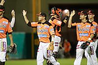 Luis Borquez, Jesse Gutierrez y Jason Urquidez festejan triunfo de naranjeros , durante el juego a beisbol de Naranjeros vs Cañeros durante la primera serie de la Liga Mexicana del Pacifico.<br /> 15 octubre 2013