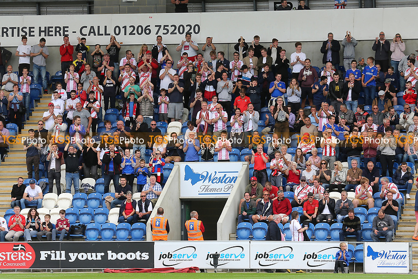 Stevenage fans during Colchester United vs Stevenage, Sky Bet EFL League 2 Football at the Weston Homes Community Stadium on 12th August 2017