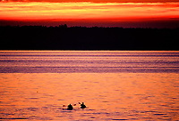 2 kayakers paddling on sunset colored waters of Puget Sound, Washington State.