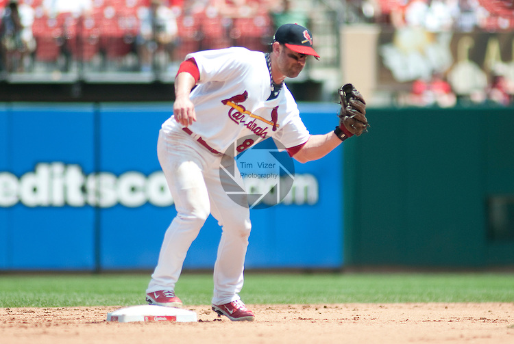 10 July 2011            St. Louis Cardinals second baseman Nick Punto (8). The St. Louis Cardinals defeated the Arizona Diamondbacks 4-2 in the final game of a four-game series on Sunday July 10, 2011 at Busch Stadium in downtown St. Louis.