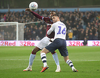 Preston North End's Andrew Hughes  battles with  Aston Villa's Jonathan Kodjia <br /> <br /> Photographer Mick Walker/CameraSport<br /> <br /> The EFL Sky Bet Championship - Aston Villa v Preston North End - Tuesday 2nd October 2018 - Villa Park - Birmingham<br /> <br /> World Copyright &copy; 2018 CameraSport. All rights reserved. 43 Linden Ave. Countesthorpe. Leicester. England. LE8 5PG - Tel: +44 (0) 116 277 4147 - admin@camerasport.com - www.camerasport.com