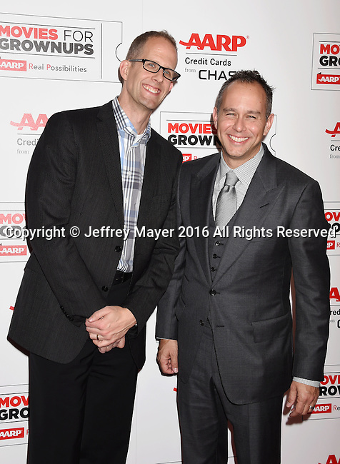 BEVERLY HILLS, CA - FEBRUARY 08: Director Pete Docter (L) and producer Jonas Rivera attend AARP's Movie For GrownUps Awards at the Regent Beverly Wilshire Four Seasons Hotel on February 8, 2016 in Beverly Hills, California.