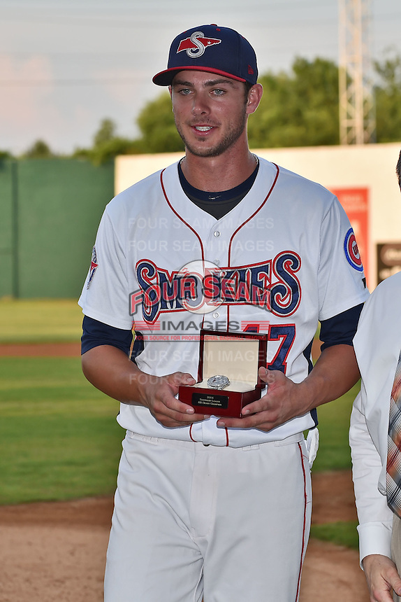 Tennessee Smokies third baseman Kris Bryant #17 accepts his award for winning the Southern League Home Run Derby at Engel Stadium on June 16, 2014 in Chattanooga, Tennessee.  (Tony Farlow/Four Seam Images)