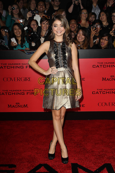 LOS ANGELES, CA - NOVEMBER 18: Sarah Hyland arrives for the Los Angeles premiere of 'The Hunger Games: Catching Fire,' at the Nokia Theatre LA Live in Los Angeles, California, November 18, 2013.<br /> CAP/MPI/RTNUPA<br /> &copy;RTNUPA/MPI/Capital Pictures