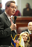 Former Sen. Bill Raggio speaks on the Senate floor Tuesday, April 19, 2011, at the Legislature in Carson City, Nev., during a ceremony to induct him into the Nevada Senate Hall of Fame. His wife Dale is at right..Photo by Cathleen Allison
