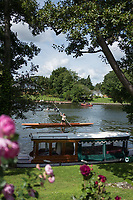 Maidenhead, United Kingdom.  &quot;Single&quot;, &quot;Thames Punting Club Regatta&quot;, Bray Reach.<br /> 12:02:13 Sunday  06/08/2017<br /> <br /> [Mandatory Credit. Peter SPURRIER Intersport Images}.<br /> <br /> LEICA Q (Typ 116) 28mm  f1.7   1/6400 /sec    100 ISO River Thames, .......... Summer, Sport, Sunny, Bright, Blue Skies, Skilful,