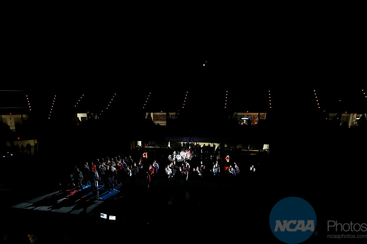 LA CROSSE, WI - MARCH 11: Wrestlers stand at attention during the Division III Men's Wrestling Championship held at the La Crosse Center on March 11, 2017 in La Crosse, Wisconsin. (Photo by Carlos Gonzalez/NCAA Photos via Getty Images)