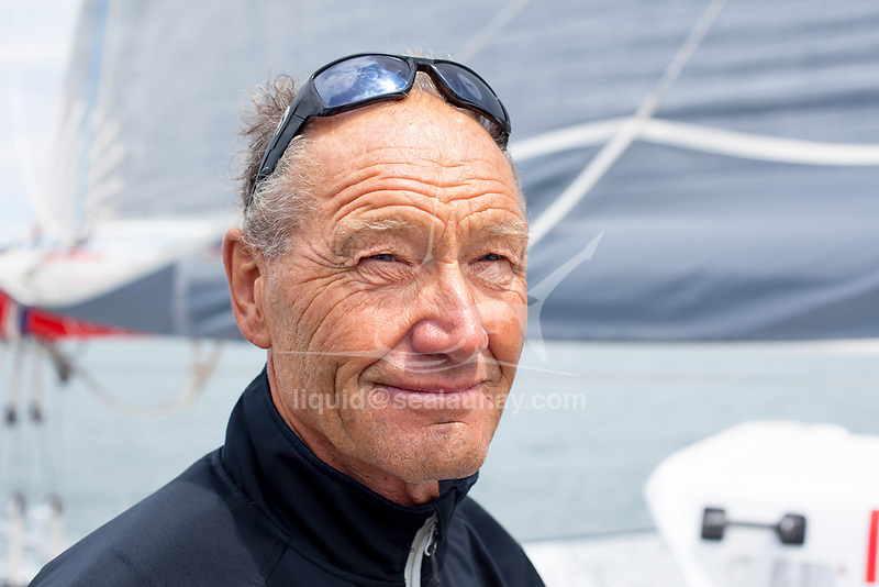 """Onboard the trimaran IDEC SPORT skippered by Francis Joyon, preparing to take part in """"La Route du Rhum"""" destination Guadeloupe, the fortieth edition of which starts from St. Malo on 4th November, La Trinité-sur-Mer, Brittany, France."""
