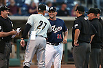 Reno Aces' Manager Phil Nevin greets Omaha Storm Chasers Manager Brian Poldberg before the first game of the PCL championship series in Reno, Nev., on Monday, Sept. 8, 2014. <br /> Photo by Cathleen Allison