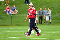 July 27, 2017: New England Patriots quarterback Tom Brady (12) does warm-up activities at the New England Patriots training camp held on the at Gillette Stadium, in Foxborough, Massachusetts. Eric Canha/CSM