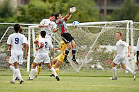 SAN ANTONIO, TX - AUGUST 29, 2008: The Midwestern State University Mustangs vs. the St. Mary's University Rattlers Men's Soccer at the St. Mary's Soccer Field. (Photo by Jeff Huehn)