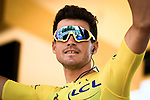 Race leader Yellow Jersey Greg Van Avermaet (BEL) BMC Racing Team at sign on before the start of Stage 11 of the 2018 Tour de France running 108.5km from Albertville to La Rosiere Espace San Bernardo, France. 18th July 2018. <br /> Picture: ASO/Pauline Ballet   Cyclefile<br /> All photos usage must carry mandatory copyright credit (&copy; Cyclefile   ASO/Pauline Ballet)