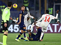12th January 2020; Stadio Olympico, Rome, Italy; Italian Serie A Football, Roma versus Juventus; The ball squirts away as multiple players try to control it with Matuidi following the flight