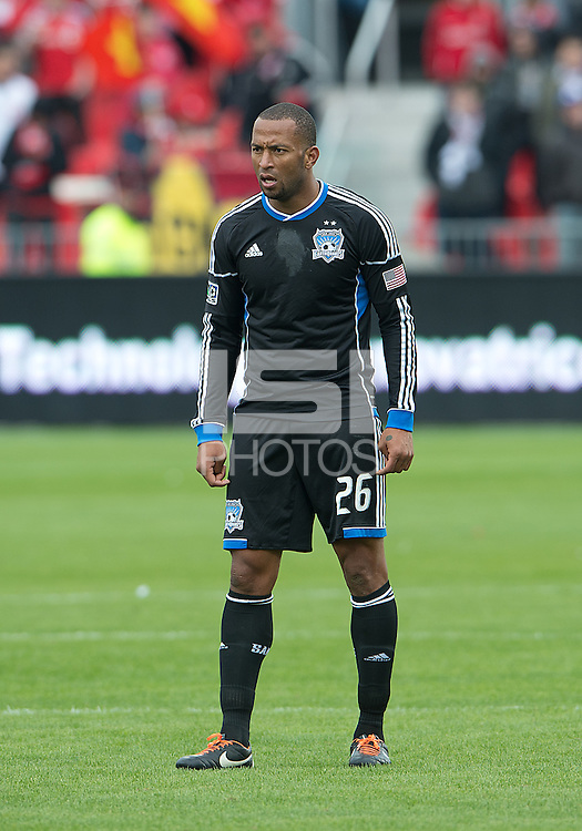 24 March 2012: San Jose Earthquakes defender Victor Bernardez #26 in action during a game between the San Jose Earthquakes and Toronto FC at BMO Field in Toronto..The San Jose Earthquakes won 3-0..