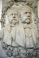 Picture and image of the stone sculpture of Paolo and Lorenzo Paracca. The monumental tombs of the Staglieno Monumental Cemetery, Genoa, Italy