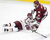 Chris Kreider (BC - 19), Conor Allen (UMass - 4) - The Boston College Eagles defeated the University of Massachusetts-Amherst Minutemen 3-2 to take their Hockey East Quarterfinal matchup in two games on Saturday, March 10, 2012, at Kelley Rink in Conte Forum in Chestnut Hill, Massachusetts.