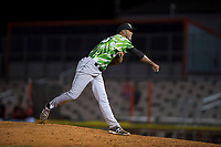 Eugene Emeralds relief pitcher Ivan Medina (36) follows through on his delivery during a Northwest League game against the Salem-Keizer Volcanoes at Volcanoes Stadium on August 31, 2018 in Keizer, Oregon. The Eugene Emeralds defeated the Salem-Keizer Volcanoes by a score of 7-3. (Zachary Lucy/Four Seam Images)