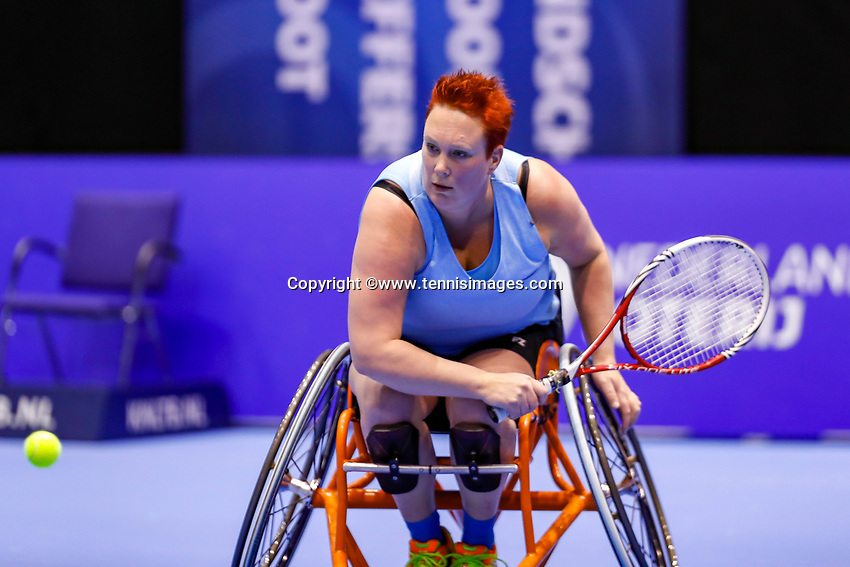 Rotterdam, Netherlands, December 15, 2017, Topsportcentrum, Ned. Loterij NK Tennis, Semi final wheelchair doubles woman, Ilse van de Burgwal (NED)<br /> Photo: Tennisimages/Henk Koster