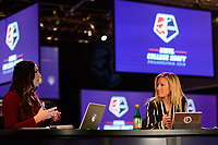 Philadelphia, PA - Thursday January 18, 2018: Marisa Pilla, Aly Wagner during the 2018 NWSL College Draft at the Pennsylvania Convention Center.