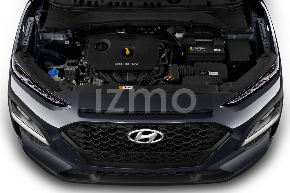Car Stock 2020 Hyundai Kona SE 5 Door SUV Engine  high angle detail view