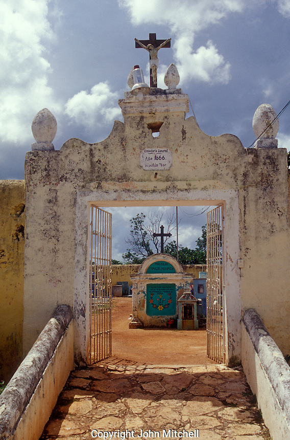Entrance to Cementerio Hoctun, a Mayan cemetery near Merida, Yucatan state, Mexico